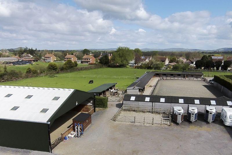 Aerial view of Hill Farm Equestrian Arenas